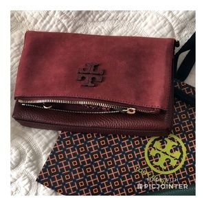 Tory Burch Taylor Mini Fold Over Crossbody Garnet